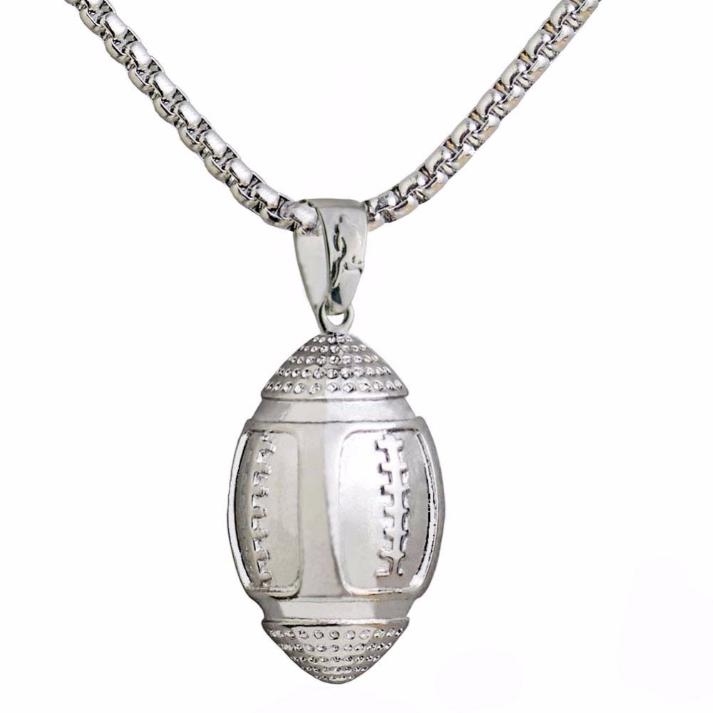 Rugby Ball Necklaces Pendant Fitness for Men American Football Cloth Accessories Sports Jewelry Stainless Steel Chain 2018