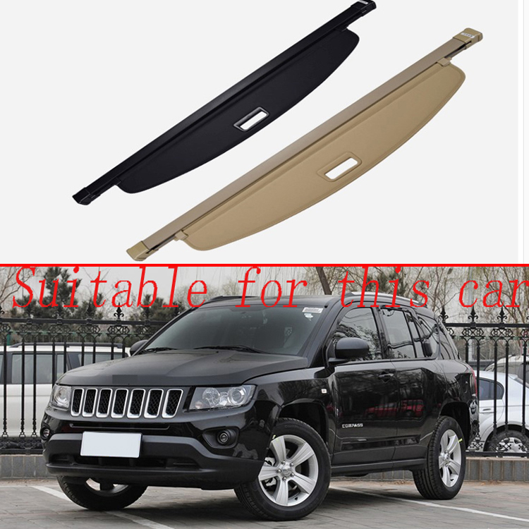 For Jeep Compass 2013-2016 Aluminum+Canvas Rear Cargo Cover Privacy Trunk Screen Security Shield Shade Accessories