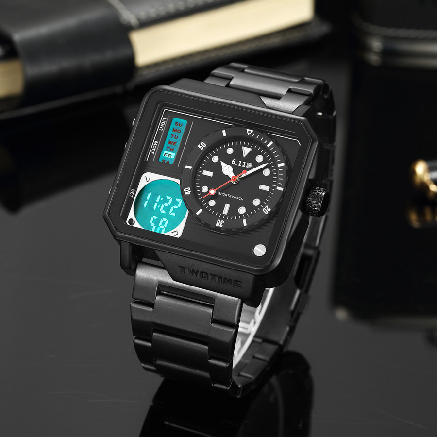 6.11 2018 New Mens Sport Watch Black Square Watch Stainless Steel Back Light Dual Time Zone Quartz Watches Men Montre Homme