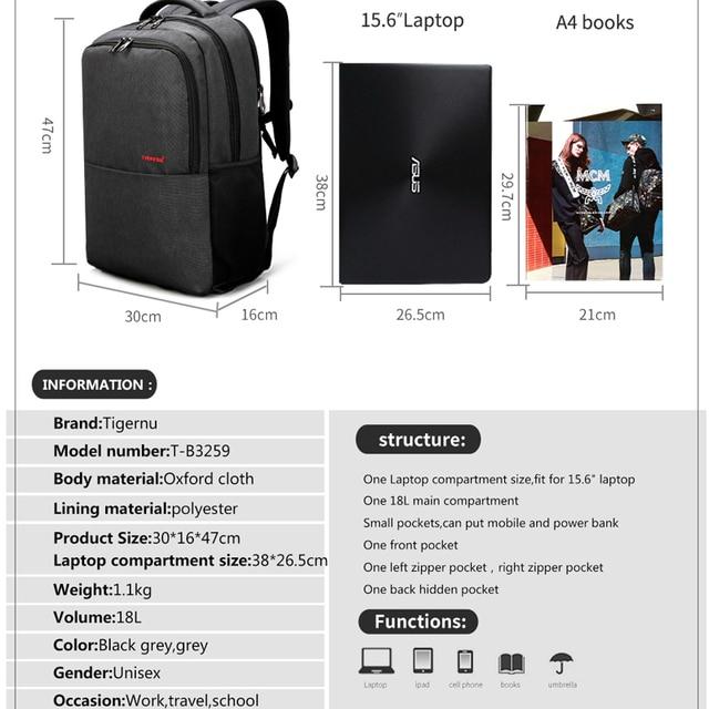 Waterproof Anti Theft Tigernu 15.6inch Laptop Backpack  Men Women Backpacks Slim School Bags Bagpack for Teens Black Grey 1