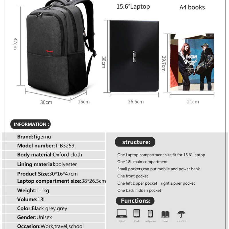 2018 Tigernu Merek 15.6 inch Laptop Ransel Pria Tahan Air kualitas Tinggi wanita Ransel Unisex tas Sekolah Bagpack untuk Remaja Ramping Hitam abu-abu