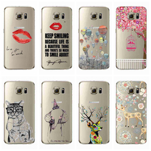 Transparent Clear print Soft TPU Gel Case For Samsung Galaxy S7 S7 EDGE Balloons lipstick Phone Case