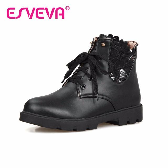 ESVEVA Fashion Side Lace Ankle Boots Flat Heel