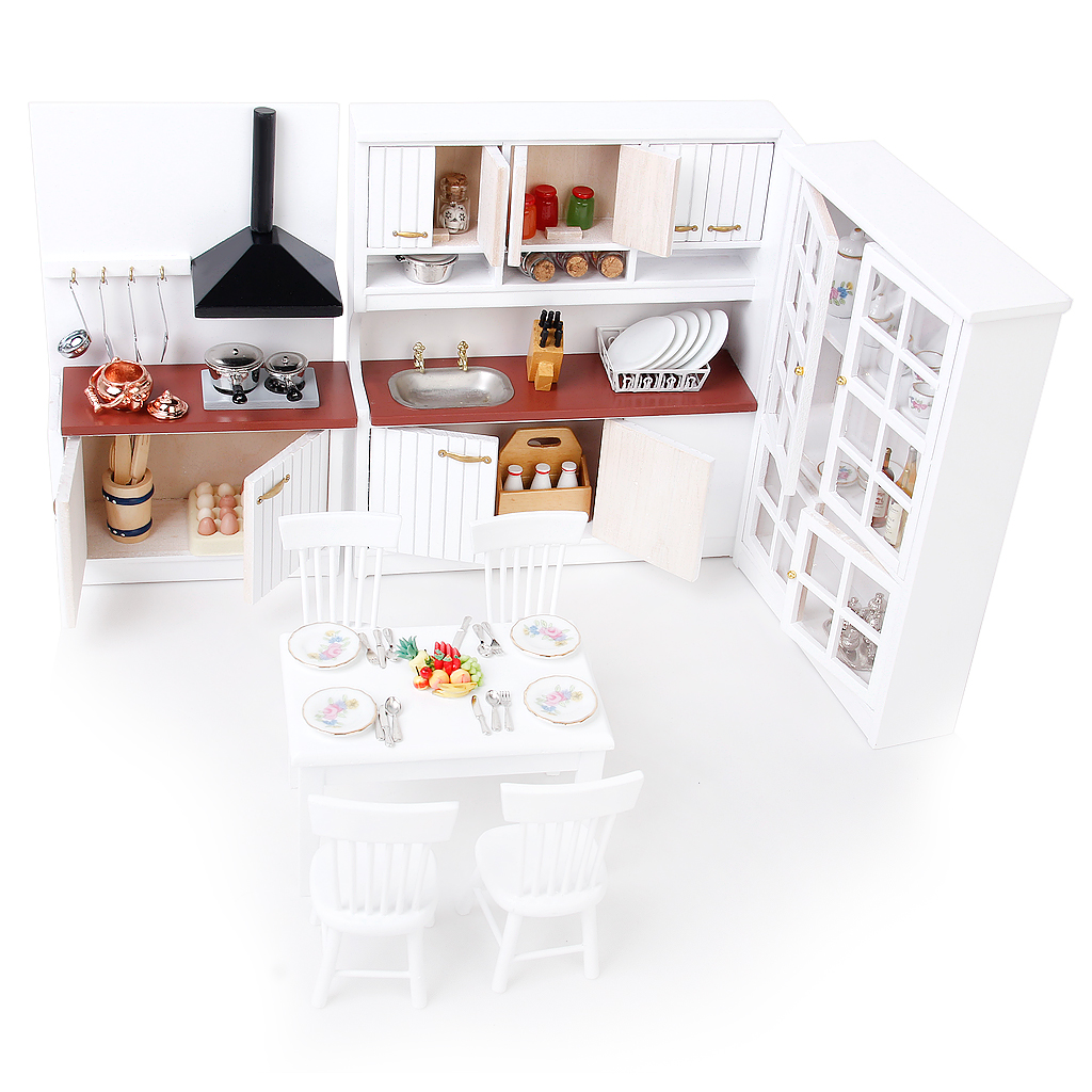 1/12 Doll House Miniatures Kitchen Dining Room Furniture Fridge Refrigerators Table Chair Model Kids Gifts