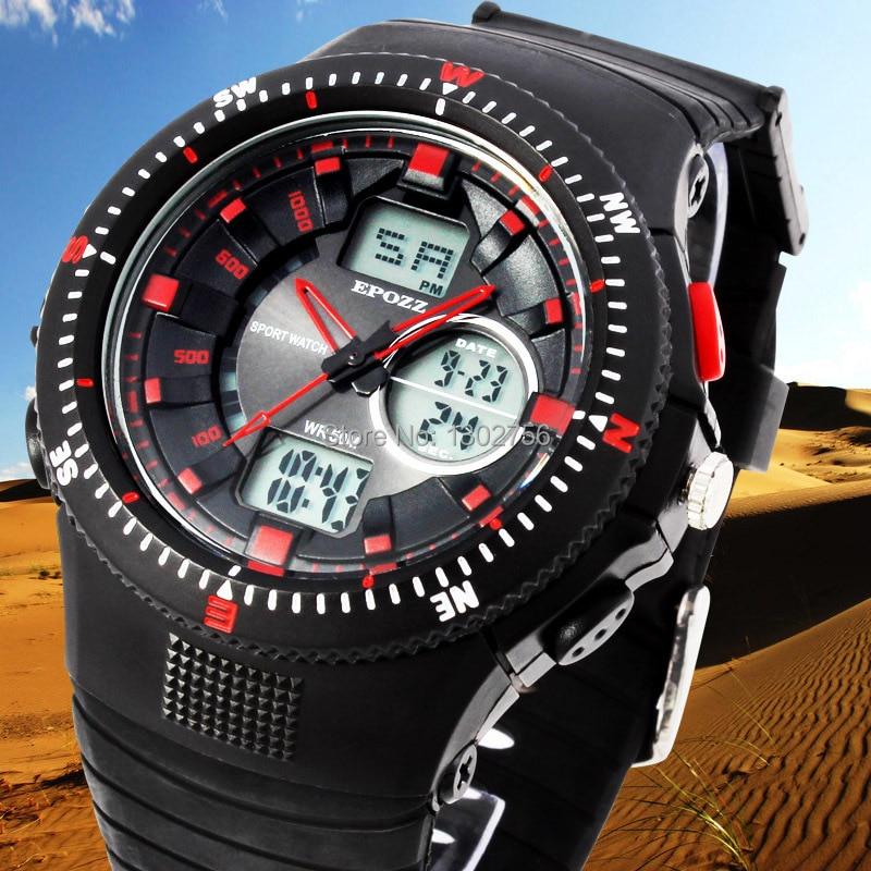 7b3ebaf843f6 Top EPOZZ Marca de Relojes Deportivos Hombres Reloj de Papel Display Analógico  Digital Cronómetro Alarma Desportivos Relogios Relojes de Pulsera Militares