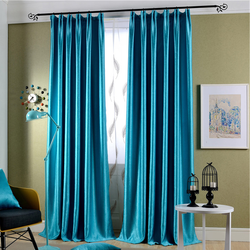 1piece Readymade Solid Silk Velvet Curtains, #Lau Zhenzhurong Blackout  Luxury Modern Drapes Curtain