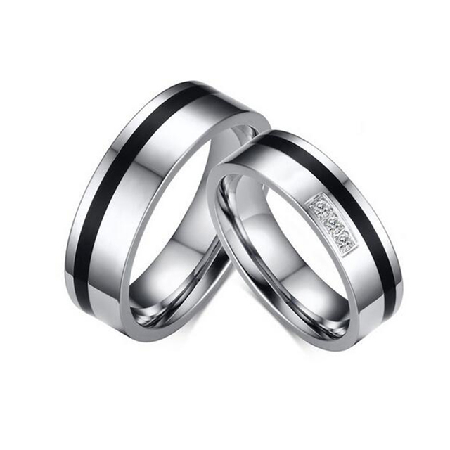 Wedding ring for lovers qualità titanium coppia anello per le donne e gli uomini