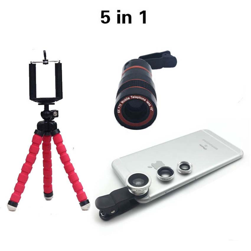 5in1 Lens 8X Telephoto Mobile Phone Telescope Lenses Fisheye Wide Macro lente Clip on Car Phone Holder For iphone Samsung Asus