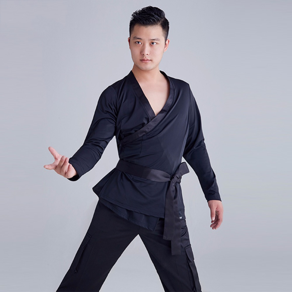 Cheap Latin Dance Shirt For Male Black Color Long Sleeve Tops Wears Practicing Salsa Quickly Step Ballroom Dancing Clothes 15042