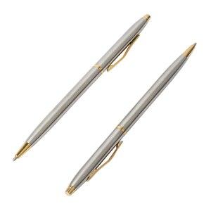 Image 1 - 20 sztuk/partia klasyczne wysokiej jakości spin pióra ze stali nierdzewnej pręt obrotowy kulkowy długopis metalowy biurowe długopisy pisanie 0.7mm