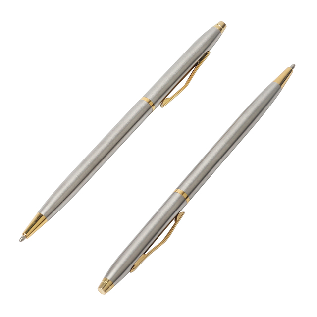 20 sztuk/partia klasyczne wysokiej jakości spin pióra ze stali nierdzewnej pręt obrotowy kulkowy długopis metalowy biurowe długopisy pisanie 0.7mm
