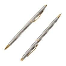 """20 יח\חבילה קלאסי באיכות גבוהה ספין עט נירוסטה מוט מסתובב מתכת עט כדורי מכתבים עטי כתיבה 0.7 מ""""מ"""