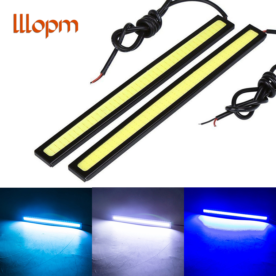 lllopm NEW 2Pcs 17cm COB DRL LED Daytime Running Light Auto Lamp External Lights For Universal Car 100% Waterproo Car styling qvvcev 2pcs new car led fog lamps 60w 9005 hb3 auto foglight drl headlight daytime running light lamp bulb pure white dc12v