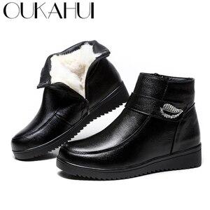 Image 1 - Женские ботинки из натуральной кожи OUKAHUI, черные теплые ботинки на низком каблуке, с кристаллами, из 100% натуральной шерсти, весна зима 2019