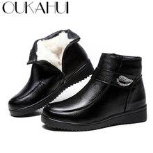 Primavera Botas De Couro Genuíno Preto Femme OUKAHUI Sapatos de Inverno Botas Mulheres Quentes de Cristal 100% Lã Natural Botas de Salto Baixo Plana 43