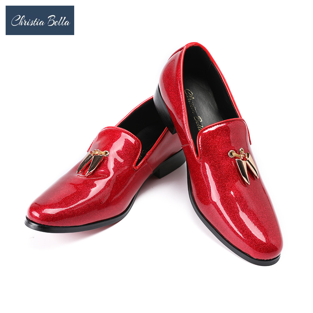 Christia Bella Fashion Men Flats Shoes Handmade Shiny Red Party and Wedding Dress Loafers with Metal Shark Tooth Mocassins