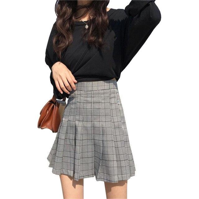 1814a335768 Women High Waist Mini Skirt Korean Harajuku Plaid Skirts 2018 Summer  Fashion Chic School Style Cotton Blend Grey Pleated Skirt