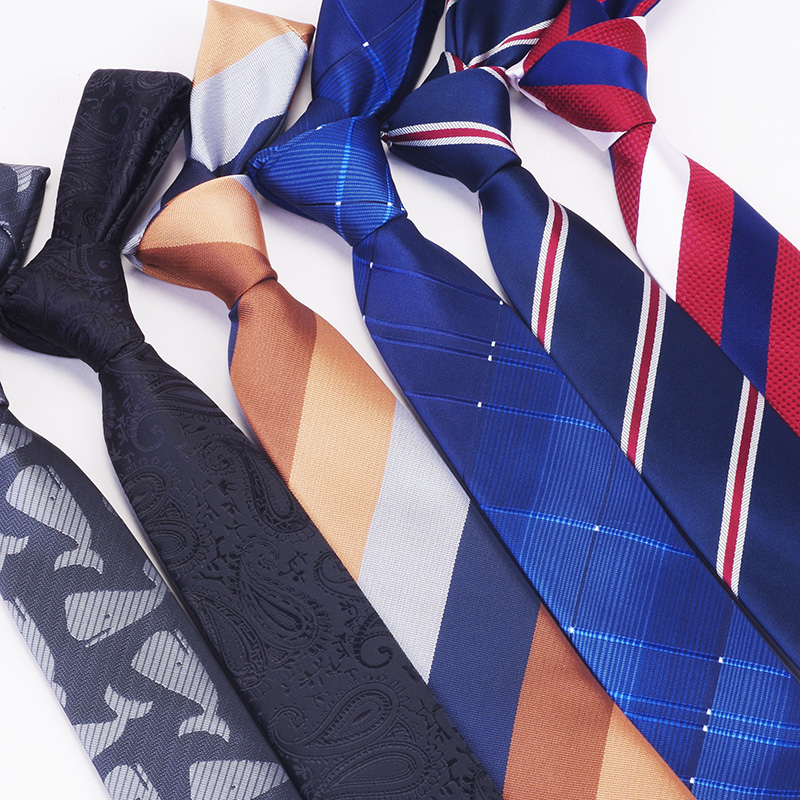 RBOCOTT Men's Tie Fashion Classic Necktie 6cm Striped Plaid Dot Paisley Slim Tie Black Red Blue Skinny Neck Ties For Men Wedding
