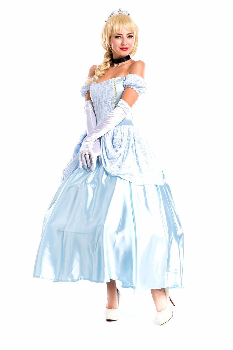 Gowns Designs With Sleeves And Gloves -  2015 adult cinderella costume women princess dress short sleeve with gloves and hoop long halloween movie