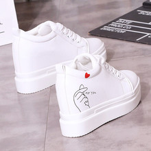 White Black 10cm Height Increasing Casual Shoes Wedges Canvas Platform Woman Sho