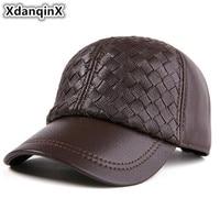 XdanqinX Adjustable Size Genuine Leather Hats For Men Women Winter Thick Warm Baseball Cap Men's Sheepskin Hat Women's Caps NEW