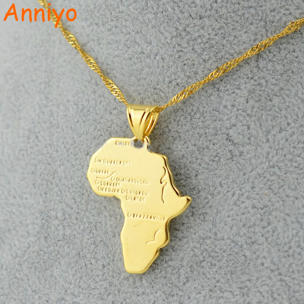 Anniyo 9 Style Africa Map Pendant Necklace for Women/Men Silver/Gold Color Ethiopian Jewelry Wholesale African Maps Hiphop Item