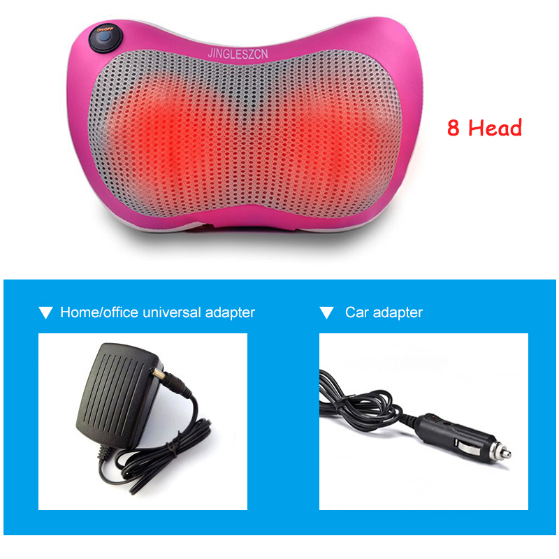 8 Heated Rollers Shiatsu Back Neck Massager Deep Tissue Kneading Shoulder Back Foot Electric Massage Pillow