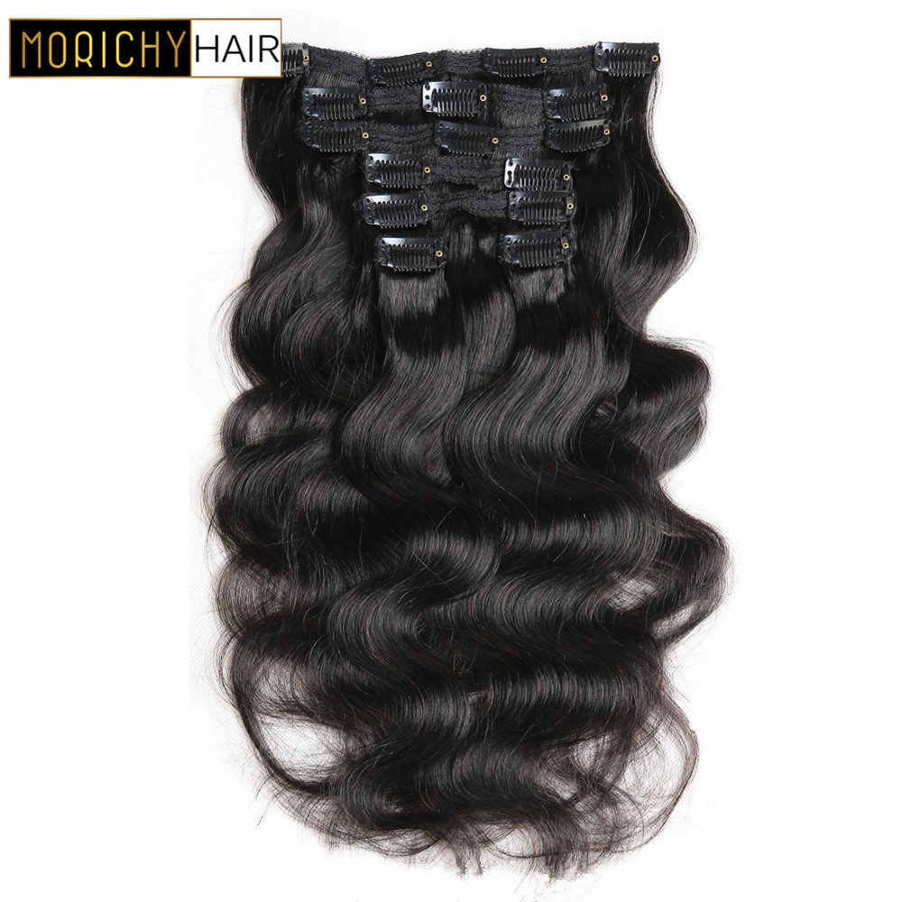Morichy Brazilian Hair Body Wave Clip In Hair Extensions Full Head 7Pcs/Set 12-20inch 1# 1B# 2# Color Frete Gratis Para Brasil