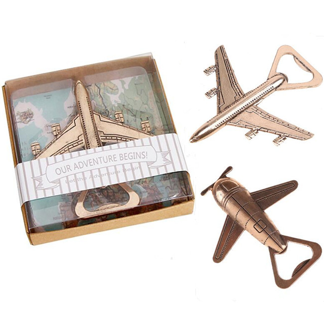 100pcs Airplane Bottle Opener Antique Plane Shape Beer Opener Wedding Gift Party Favors Kitchen Aluminum Alloy