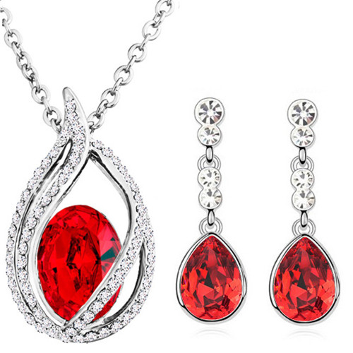 austrian Crystal tear drop flame pendant fashion jewelry sets - Fashion Jewelry - Photo 4