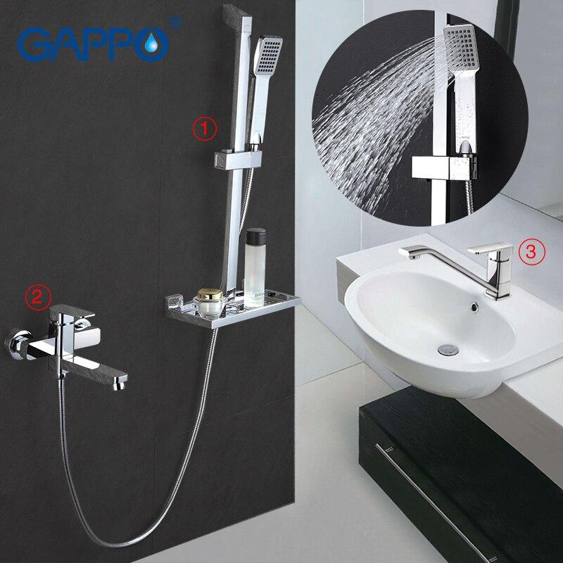 Gappo Bathroom Basin Faucet Water Mixer Single Hole Shower Bath Set Mixer Faucet Brass Wall Mount Faucet Slide Bar 3pc GA2898