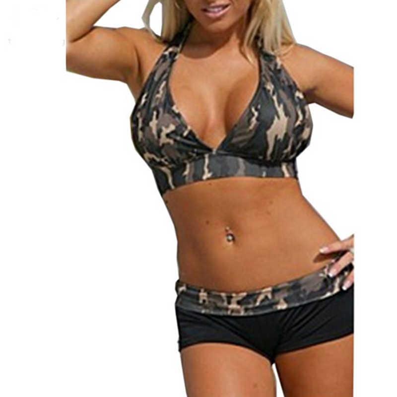 2019 Для женщин сексуальный Холтер Армейский зеленый камуфляжные боксеры шорты Спортивное бикини комплект бикини бразильский купальный костюм купальник больших размеров для всей на шее; костюм для купания;