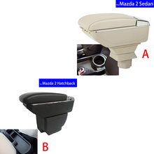 Leather Car Interior Parts Center Console Armrest Box for Mazda 2 2007 2008 2009 2010 2011 2012 2013 Armrests with USB