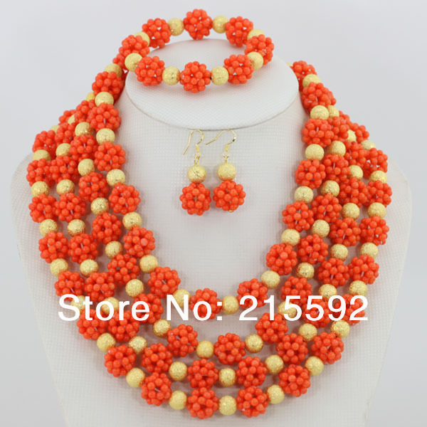 Hot!Nigerian wedding African Coral beads jewelry set African Bridal Jewelry Set Free Shipping CJ008