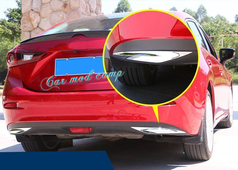 For Mazda 3 Axela 2014 2015 2016 2017 Sedan ABS Rear Bumper Corner Protection Stripe Trim 2pcs Car Styling Accessories!!