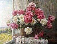 Diy الماس التطريز الأبيض و الأحمر الزهور اللوحة الراين في إعداد لل صليب غرزة أسلوب الحديث تزيين المنزل b069