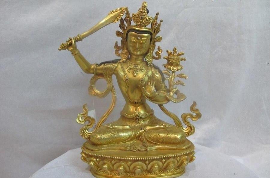 9Tibet Sacred Lhasa 100% Bronze 24K Gold Gild Manjusri kwan yin Buddha Statue9Tibet Sacred Lhasa 100% Bronze 24K Gold Gild Manjusri kwan yin Buddha Statue