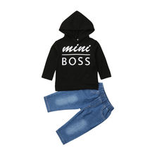 2Pcs Newborn Toddler Baby Boy Hooded Tops Long Sleeve Sweatshirt Denim Pants Outfits Clothes 2019 Set цена и фото