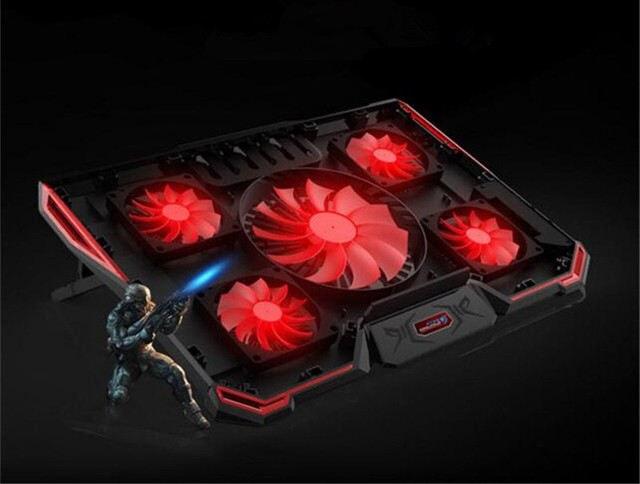 Laptop Cooler Cooling Pad For 17.6 inch and below Laptop With Silence 5pcs LED Fans 2PCS USB 2.0 Adjustable Notebook Holder