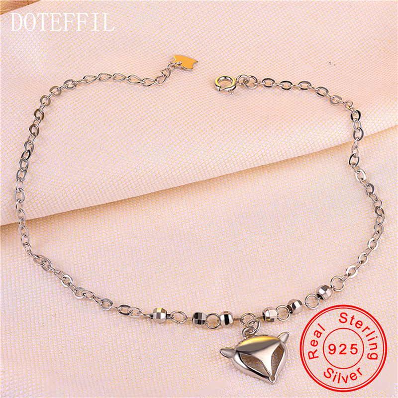 925 Sterling Silver Anklets For Women Fox Animal Pendants Anklet Silver 925 Jewelry Simple Style Ankle Bracelet
