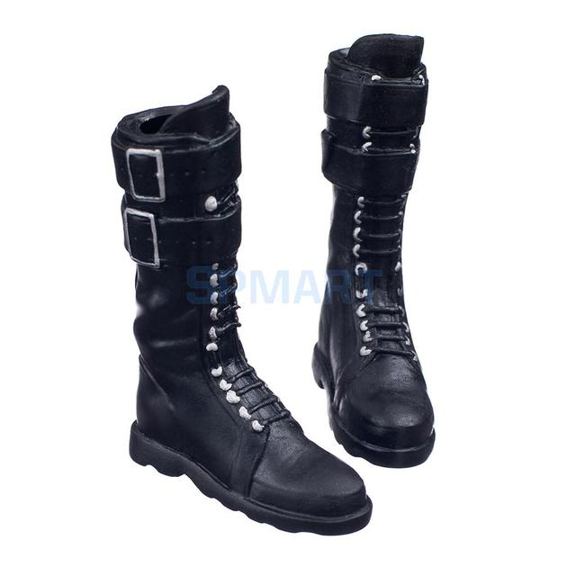 Black 1 6 Scale lace Up Buckle Flat Long Boots Shoes for 12 inch Female  Action Figure Body 74b578458ddd