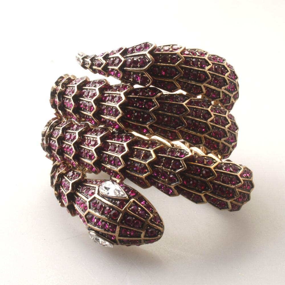 GrayBirds nouvelle marque animaux serpent Bracelets élastique corde Antique couleur or longueur et couleur de cristal peut être personnalisé GB1098