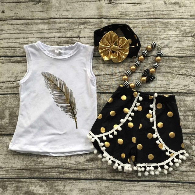 2016 new free shipping summer girls boutique clothing white feather  shorts black dot outfit  with matching necklace and bow set