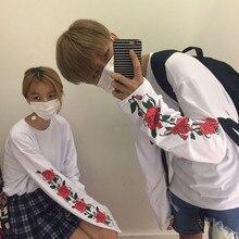 FREE SHIPPING Roses Printed Women Men T shirt  Korean Casual Loose Harajuku T-shirt Long Sleeve O-neck White Tops JKP331