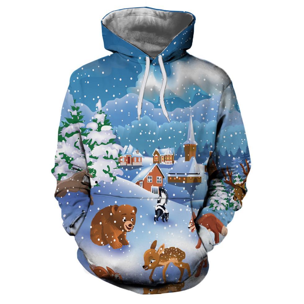 Ice Snow Christmas Christmas Hoodies 3d Sweatshirts Men&Women Hoodie Print Couple Tracksuit Autumn Winter Hooded Hoody Clothing 1