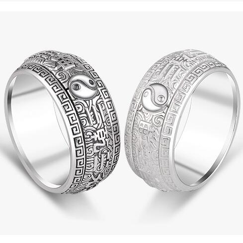 Bague de bonne chance en argent 990 véritable argent pur Fengshui Bagua symbole anneau tournant Taichi symbole
