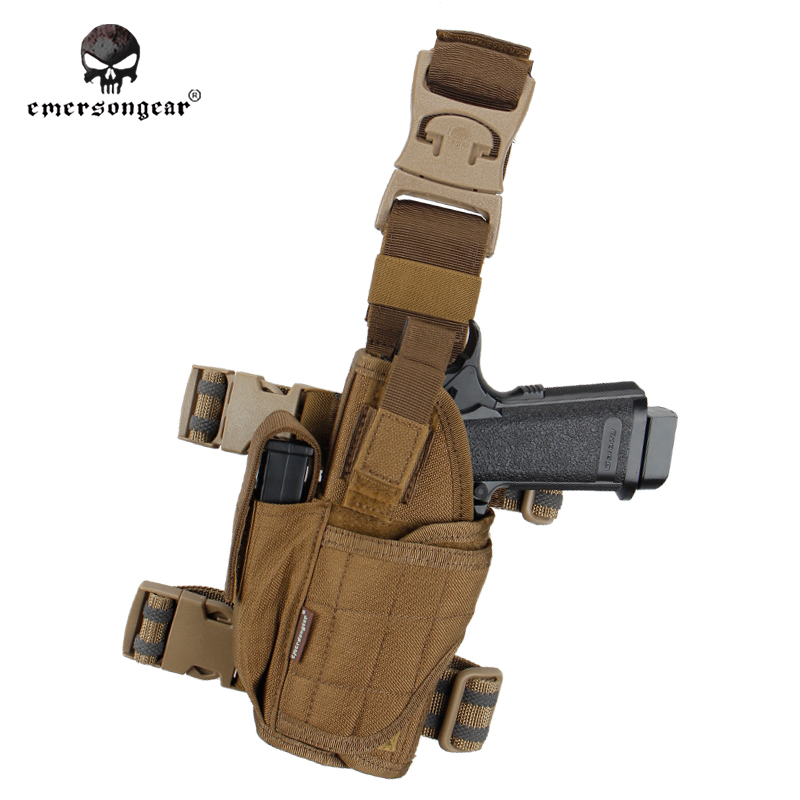 Home Emerson Drop Leg Pistol Holster Thigh Pouch Right Hand Left Hand Gun Holder Em6208 Coyote Brown Bright And Translucent In Appearance