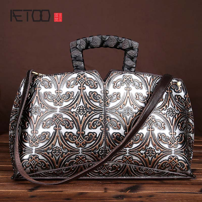 Leather retro hand wiping color diagonal package embossed handbag hand bag leather shoulder bag handbag