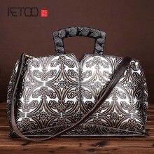 Leder retro hand wisch farbe diagonal paket geprägte handtasche hand tasche leder-umhängetasche handtasche