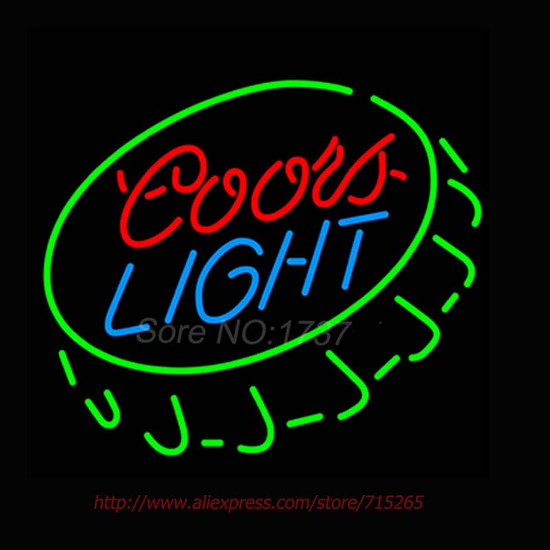 Super Bright Neon Bulbs Coors Light Open Bottle Cap Neon Sign Commercial Custom signs For Bar Neon Lamp Real Glass Tube 18x24